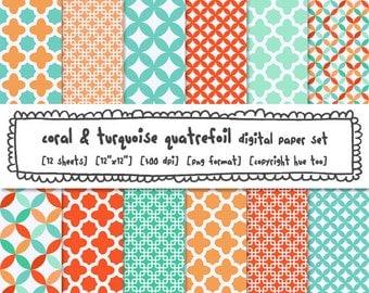 coral and turquoise quatrefoil digital paper, orange and blue patterns digital backgrounds, instant download 496