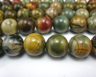 picasso jasper round bead 12mm 15 inch strand