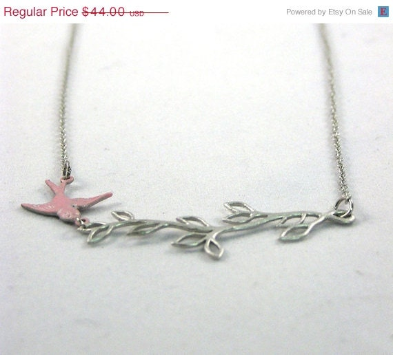 20 % VACATION SALE Pink and Silver Bird on Branch Necklace
