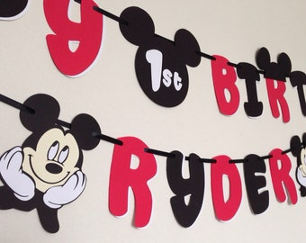 Mickey Mouse Birthday Banner with Name (Red/Black)