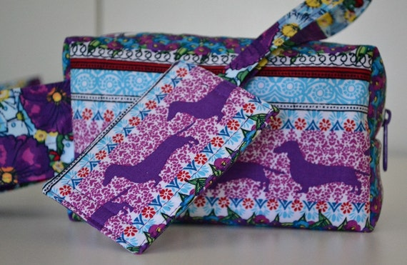 Purple Dachshund Makeup Toiletry Bag and Luggage Tag