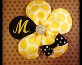 Monogrammed Yellow Polka Dot and Navy Petal Flower Hairclip....Baby Hairbow...Toddler/Girls Hairbow...Monogram Hairbows