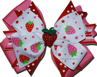 """Pink and Red Strawberry Boutique Hair Bow w/ Sprays - 4"""" RoseyBow® w/ Glitter Strawberry Charm - Stripes and Polka Dots Stacked Boutique Bow"""