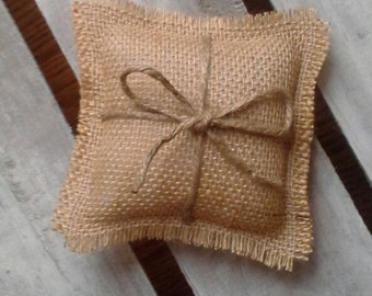 "5"" x 5"" Mini Natural Burlap Ring Bearer Pillow With Jute Twine- Rustic/Country/Shabby Chic/Folk/Wedding-Miniature-Small Ring Bearer Pillow"