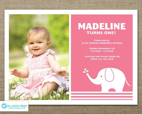 Elephant Invitation 1st Birthday Invitation Zoo Invitation – First Birthday Invitation Templates Free