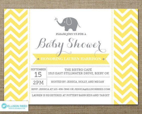 Chevron baby shower invitation Girl Baby Shower Elephant