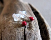 Little Red Enamel Stud Earrings. Girls Studs - Sterling Silver Post Earrings - Gift For Her