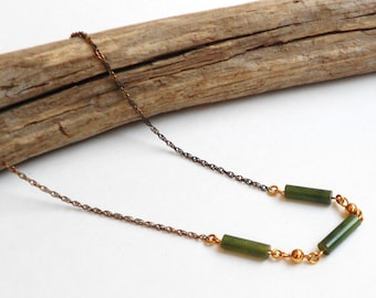 Vintage Jade necklace, 12k yellow gold filled chain jade tube bead vintage necklace