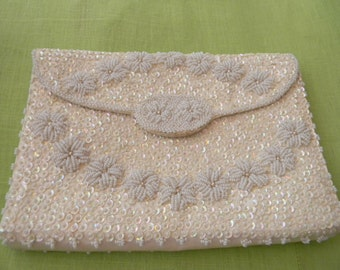 Vintage White Floral Walborg Evening Bag or Clutch, Beaded and Sequined