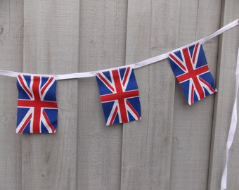 Union Jack garland, 7 British flags, Anglophile garland, decor for tea party,  flag of the UK, St. George's cross,  the Blue Red and White