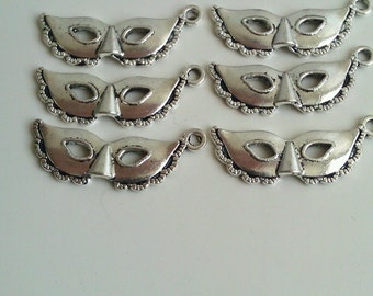 CLEARANCE Fifty Shades of Grey Inspired Masquerade Mask Charm  (12)  Antique Silver Finish Tibetan