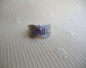 Sterling Silver Oval Faceted Amethyst Cigar Band Style Ring Size 7