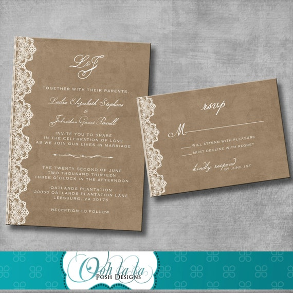 wedding invitation and matching response by oohlalaposhdesigns. Black Bedroom Furniture Sets. Home Design Ideas