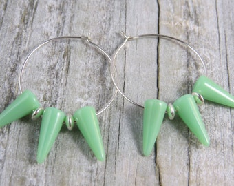 Mint green Czech glass spike hoop earrings, sterling silver hoop earrings, basketball wives earrings