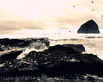 Beach Photography Oregon Coast Haystack Rock Pacific City--Fine Art Lomography 8x12