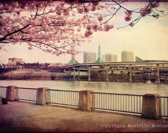 Portland Oregon Photography Convention Center Cherry Blossoms Pink--Fine Art Lomography 8x12