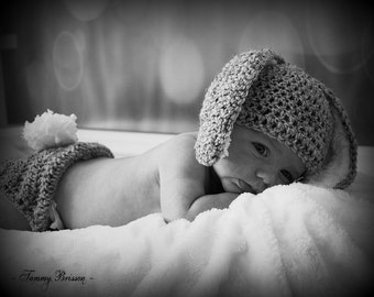Baby Bunny Easter Hat an Dia[er Cover Crochet Knit Floppy Ears Tail Photo Prop