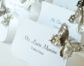 Butterfly Place Cards,  Butterfly Escort Cards, Custom Printed or Blank  - Taupe and White