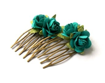 SAMPLE SALE Teal Blue Flower Hair Comb Set of Two Small Tiny Combs Natural Vintage Style Woodland Hair Comb Set of Two Antique Bronze Toned