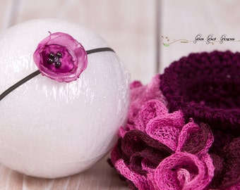 CLEARANCE Crochet Ruffled Skirt with Headband, Baby Newborn Size, Photography Prop