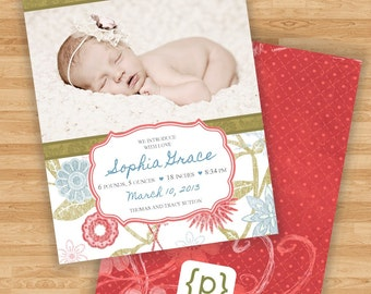 Baby Girl Birth Announcement - Flowers - Blue/Red/Green - Gray-Blue/Salmon/Sage