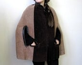 Vintage 1960s Boho Two-Toned Suede Cape