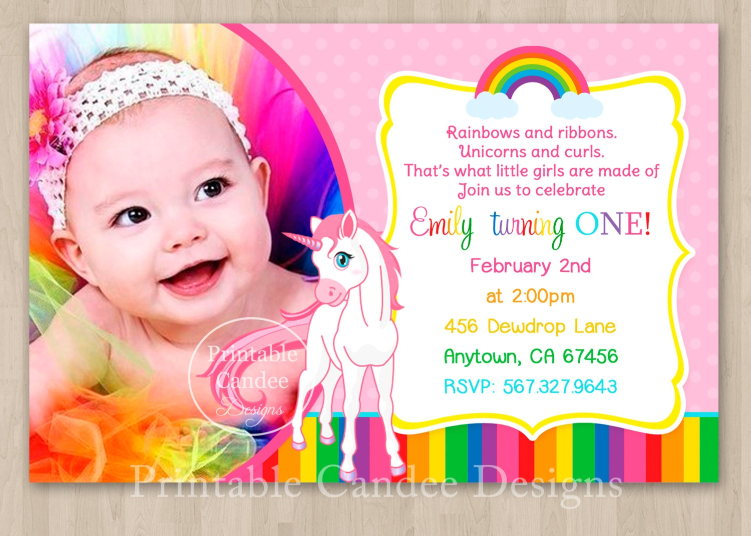 Rainbow Unicorn Birthday Invitation DIY Custom by ...