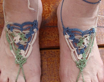 Sandals, Barefoot Sandals, Women or Girls Crochet Barefoot  Sandals in Oasis Color Style 77