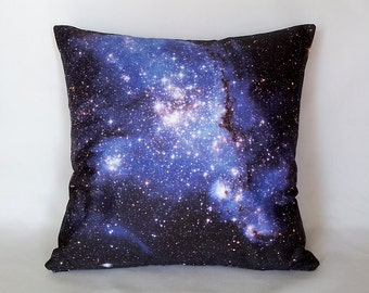ON SALE: Blue Galaxy Pillow Cover - NASA Hubble Outer Space Photo on Fabric