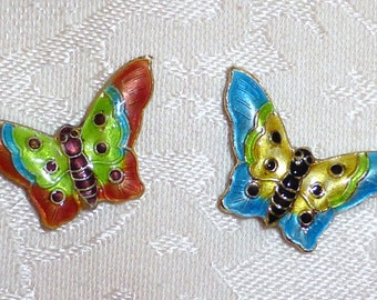 Cute Cloisonne Butterflies 19mm x 28mm - Aqua and Peach - Set of Two