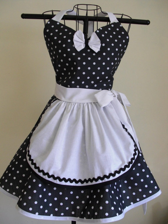 French maid apron pin up retro style black and white polka for Patron tablier vintage