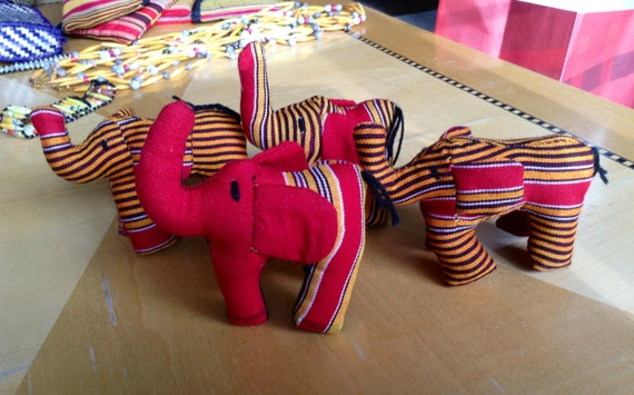 African Fabric Elephant Figurine