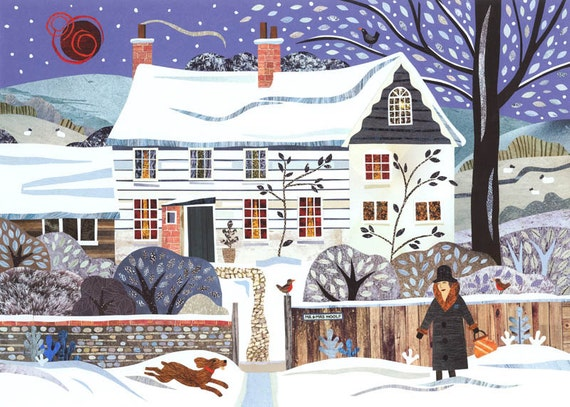 Virginia Woolf - Bloomsbury - Monk's House - Booklovers Gift - Christmas - Fine Art Print - Writers' Houses - Collage - Snow - Dog - Winter