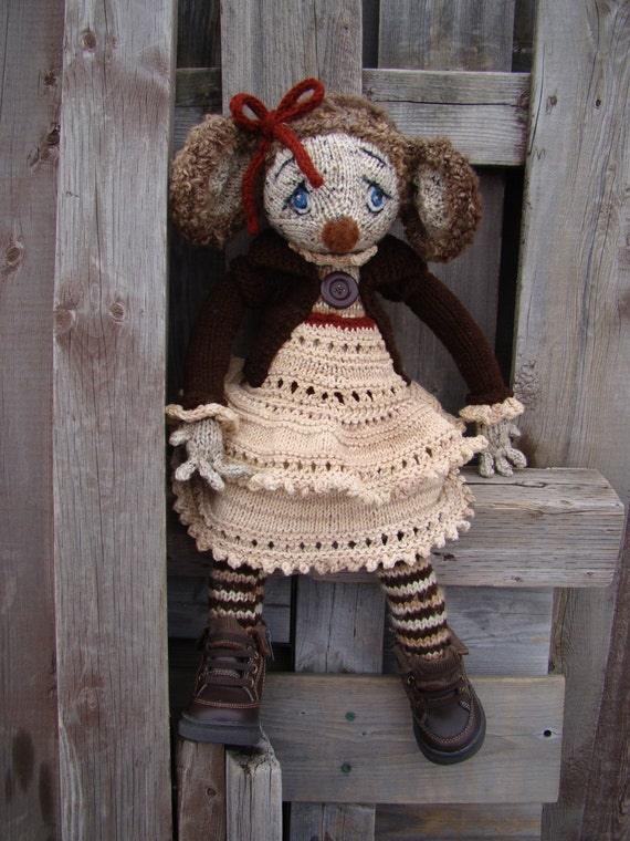 Pattern for Little Mouse in the City Raggedy Lottie ragdoll doll knitted doll...