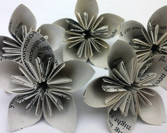 Medium Sized Vintage Love Book Paper Flowers, Table Scatter, Table Decor, Weddings, Special Occassion