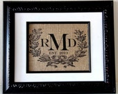 Custom Monogram with Wreath and Est. Date - Gift for Engagements, Weddings and Anniversaries