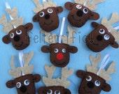 Set of 9 Handmade Felt Rudolph & Friends Ornaments