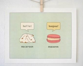 Macaron and Macaroon Art Print