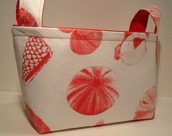 Fabric Storage Basket Bin Organizer Storage Container-Sea Shells on White with Solid Coral Colored Interior