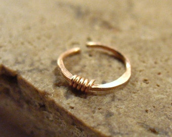 Nose Rings Solid Hammered & Wrapped Pink Gold - Nose Ring, 20 Gauge Nose Ring, 22 Gauge Nose Ring, Hammered Nose Ring, Rose Gold Nose Ring