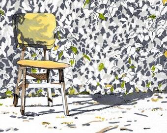 Landscape Art Print  --Chair in the Garden