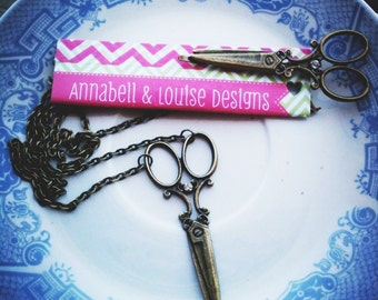 Bronze Scissor Necklace with matching Bobby pin gift / present / hairdresser / hair stylist