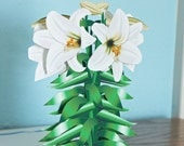 3D White Lily Card, popup White Lilies, pop-up flower card