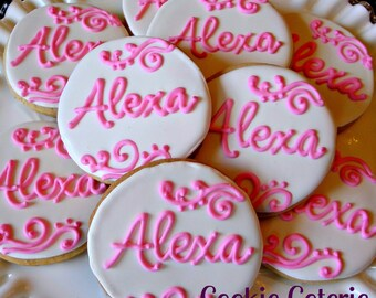 Monogram Cookies Baptism Christening Baby Shower Birthday Party Cookie Favors One Dozen