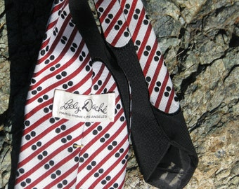 Men's Tie - Red, Black, and White - Diagonal stripes w/ dots - Lilly Dache - Wide Tie - Polyester- Suit Accessory