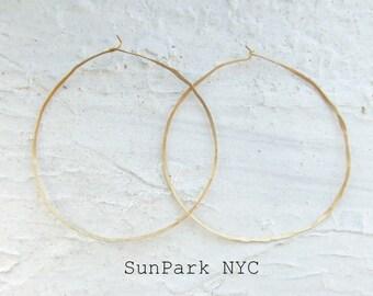 Delicate Hoop Earring/Hammered Brass Hoop/Gold Earring/Gold Hoop/Handmade Hoop