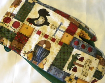 Patchwork Oven Mitts Country Rustic Bears Hearts Roosters Chickens Pot Holders