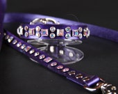 Purple Pearl Leather Dog Collar & Leash with AB Crystals