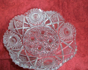 American Brilliant Deep Cut plate  Vintage 30s collecitble glassware