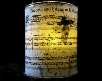 Bach Candle holder/ luminary with real leaf paper  and The Toccata (Bach) sheet music